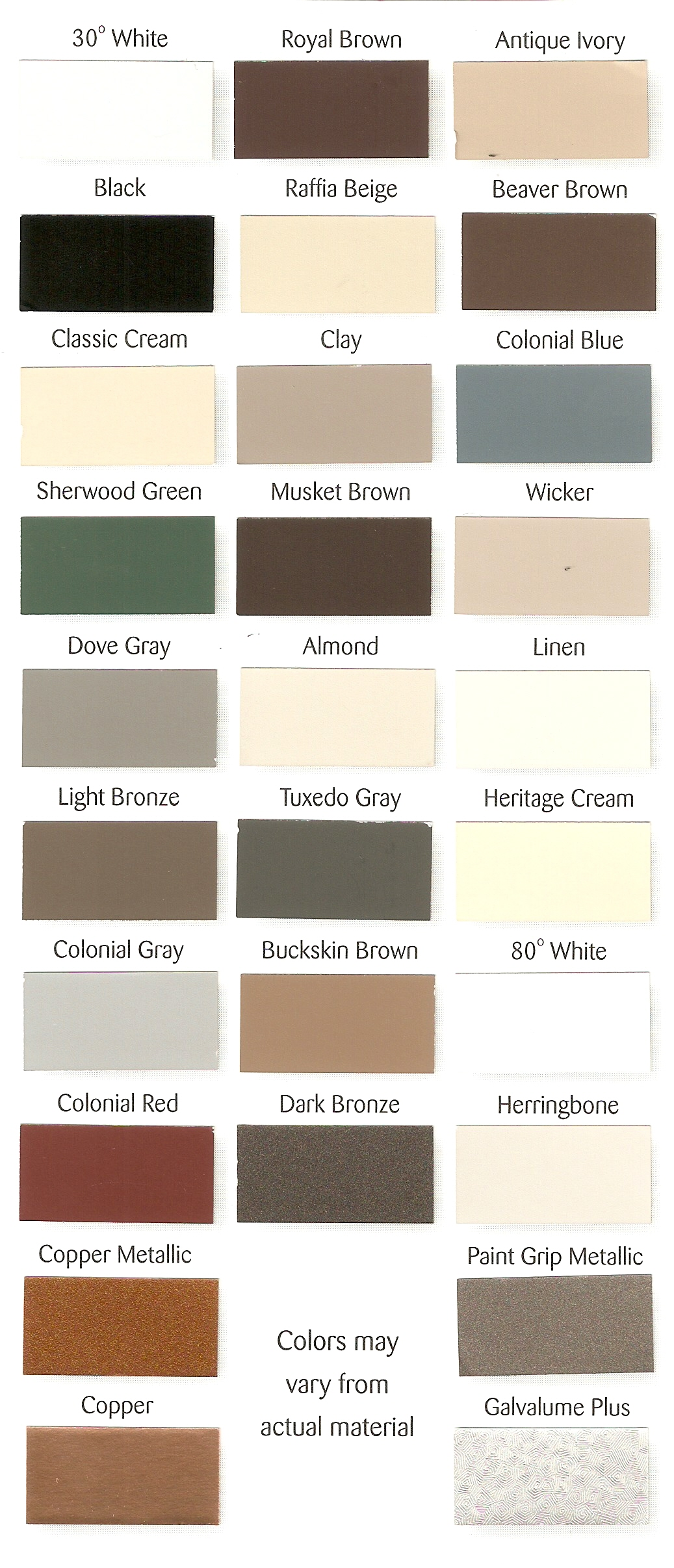 Weathershield gutters color chart nvjuhfo Gallery